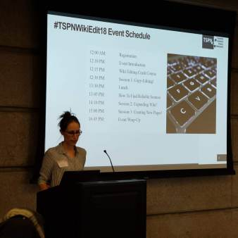 Ellen introducing TSPN & the day's schedule.