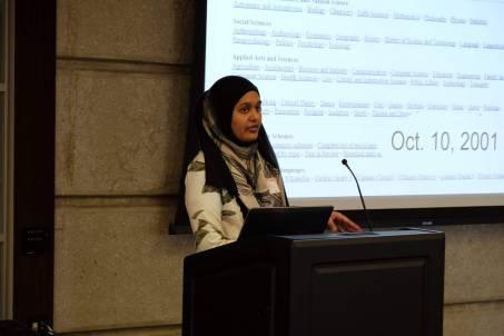 Farah giving a tutorial on Wikipedia Editing.
